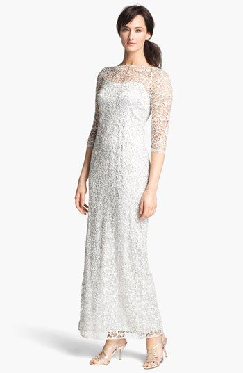 Women's Kay Unger Embellished Illusion Neck Lace Gown