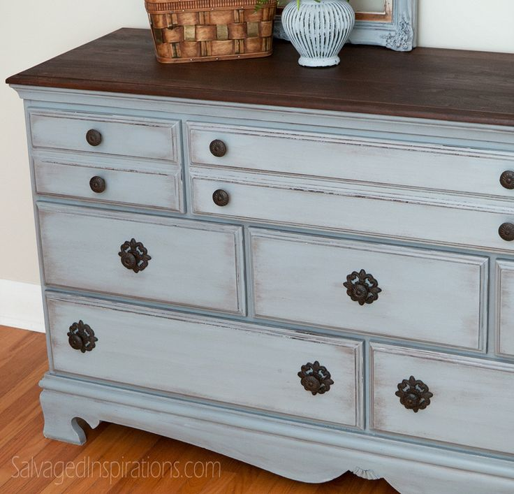 Salvaged Inspirations | Re-Styled in Miss Mustard Seeds Shutter Gray Milk Paint and General Finishes Java Gel Stain |