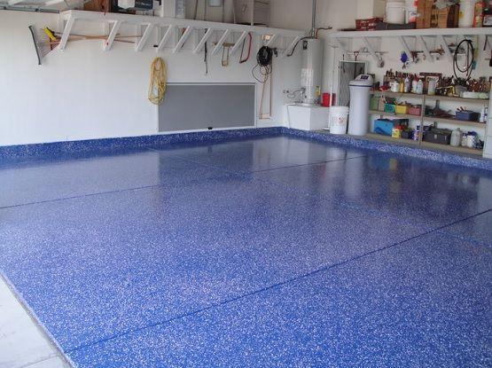 Blue color epoxy garage floor paint ideas | Flooring Ideas | Floor Design Trends