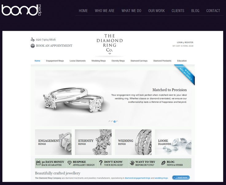 THE DIAMOND RING COMPANY ~ We needed to make the front end of the site MUCH quicker, the old site was loading ALL the diamonds when you tried to view a product page. This was causing a page load delay which took on average 1-2 minutes to load….BOND MEDIA had to save the day! We knew improving speed would result in more conversions for the client.