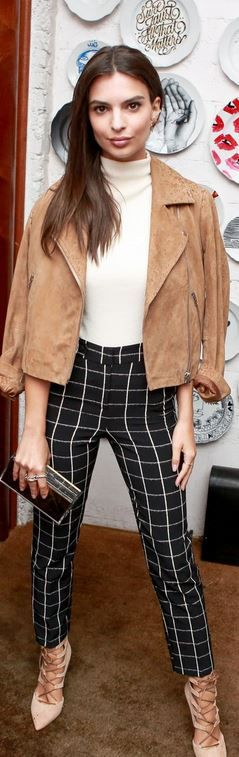 Who made Emily Ratajkowski's tan leather jacket, white top, black check print pants, and lace up pumps?