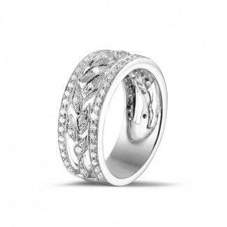 Witgouden Diamanten Verlovingsringen - 0.35 caraat brede florale alliance in wit goud met kleine ronde diamanten