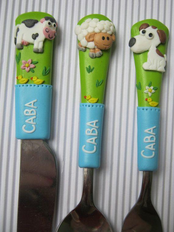 Cutlery for children.Village Animals.Girl's Cutlery Set,Boy's Cutlery Set,Personalized Cutlery for Children,Girls Gift For Birthdays,Boys gift for birthdays,Flatware Set for Girls,Unique Gift,Pink,Perfect gift for birthdays.    ------------------------------------------------------    Cutlery sets contain :  1.spoon & fork (for Baby,for Children,for Adult)  2.spoon & fork and knife(for Baby,for Children, for Adult)  .....  Adult - set of 3 pieces contains Spoon, Fork & Knife…