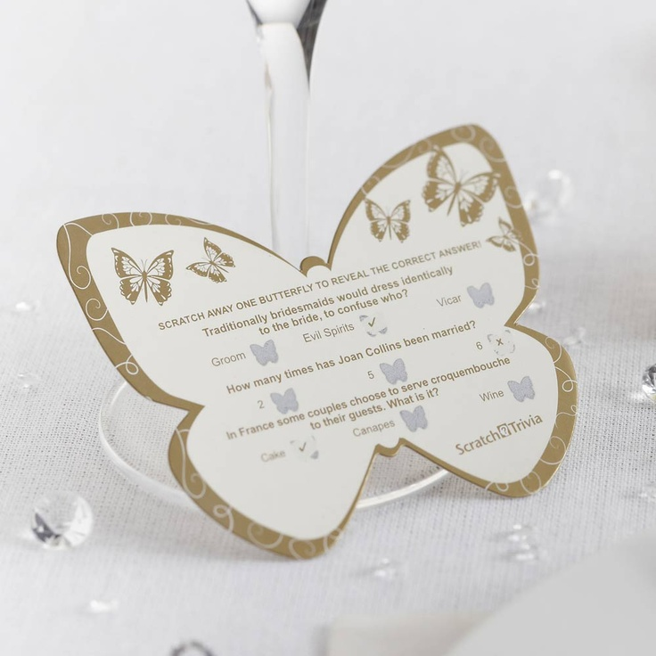 Butterfly Scratch Trivia Card for weddings. Butterfly shaped trivia cards in gold or silver  with a romantic theme. Perfect for placing on wedding tables, getting the guests talking - an ideal ice breaker!