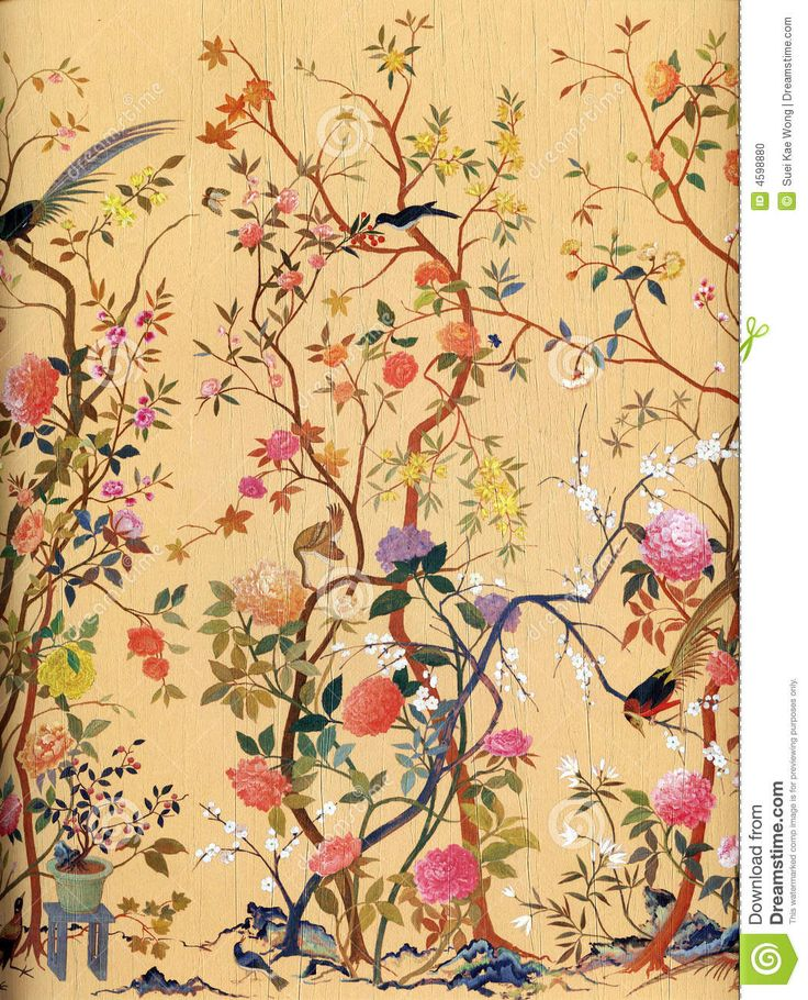 Romantic Flowers And Birds Art Wallpaper Vector Stock Photo - Image: 4598880