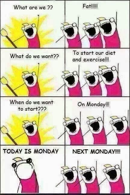 start today, fun, funny weight loss quotes #funny #quotes  They actually say Monday is a bad day to start your diet!!