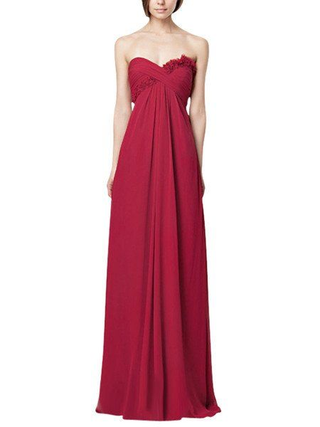 MADE TO ORDER: 8 - 10 weeks   Dashing formal dress in dark pink colour perfect for evening events. This chiffon dress features a strapless Empire silhouette, fl