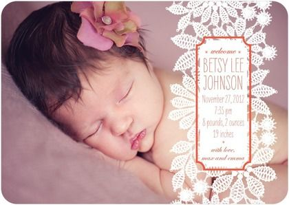 Winter Girl Birth Announcements Knit Lace - Front : Blaze