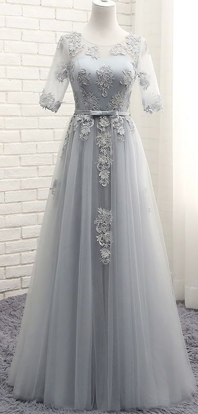 Gray Prom Dresses,Long Prom Dresses,Prom Dresses with Sleeves,Evening Dresses,Lace Prom Dresses,420