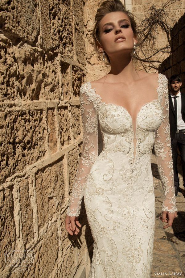 Galia Lahav Spring 2015 #bridal collection: Navona long sleeve sheath #wedding dress #weddingdress #weddinggown