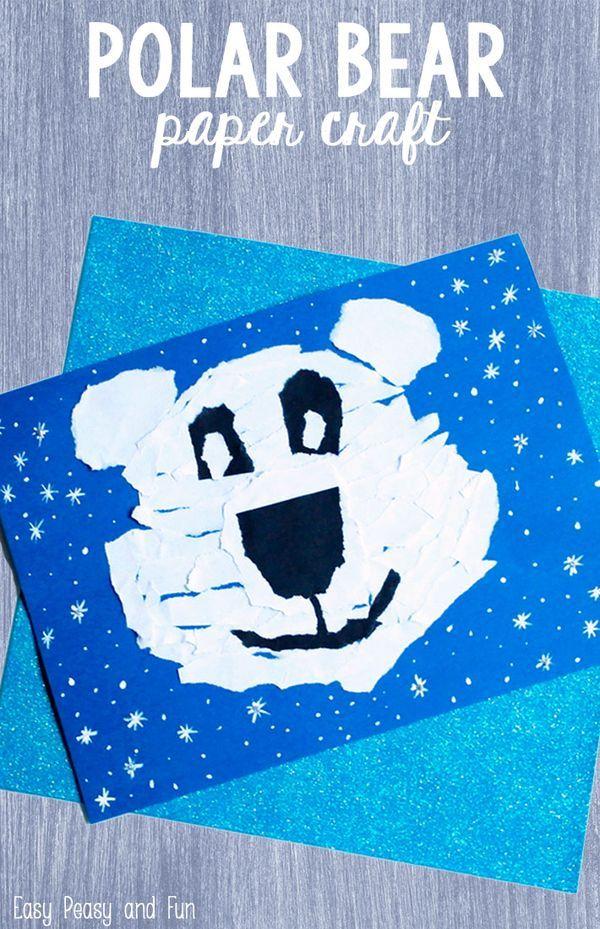 Polar Bear Paper Craft Crafts Activities For Kids Winter