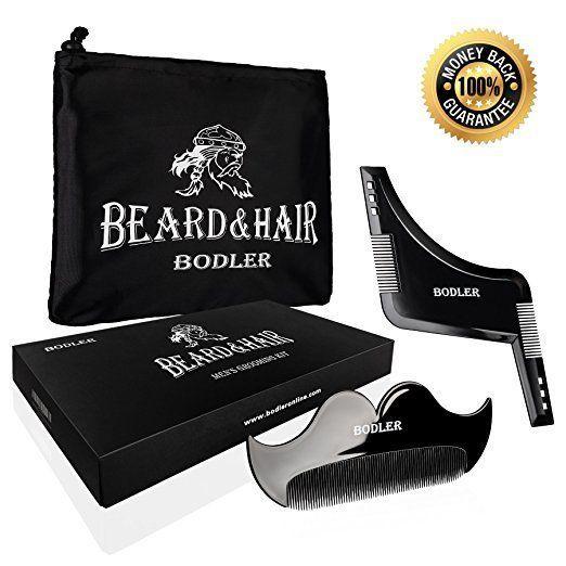 Grooming Shaving Kit For Men Beard Shaping Template Tool Fine Mustache Comb #BODLER