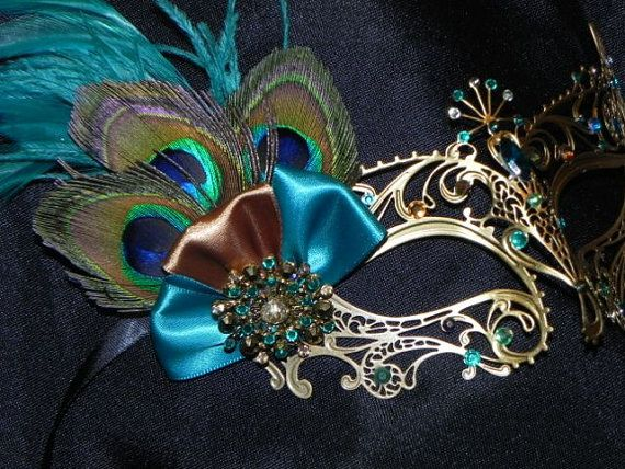 Peacock Metal Masquerade Mask with Teal and by TheCraftyChemist07
