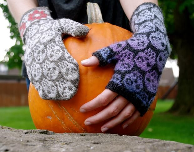 Skulls & Flowers Mittens - Knitting Patterns and Crochet Patterns from KnitPicks.com