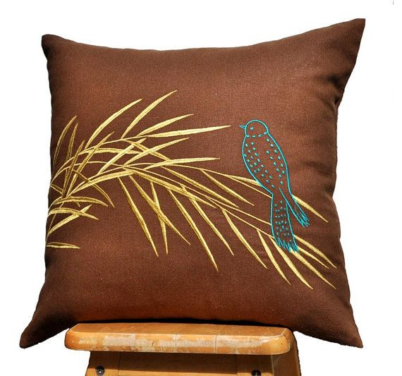 Modern classic pillow cover made from russet brown color linen embroidered with Gold Bamboo Leaves and Cute Bird Embroidery