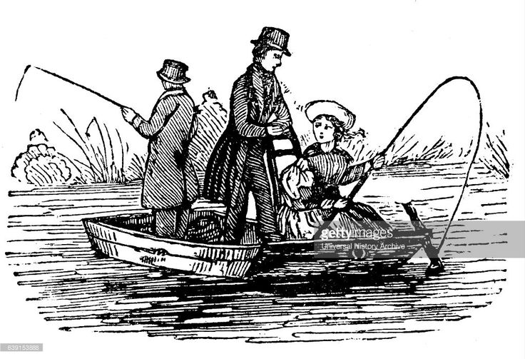 Illustration of men fishing on a punt, a flat-bottomed boat with a square