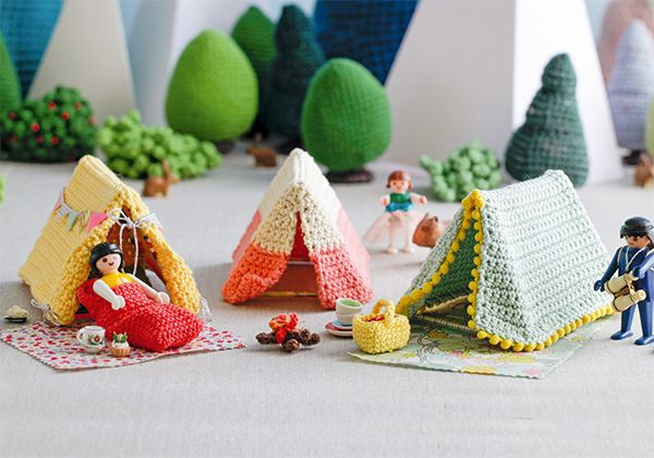 Glamping for little men | Crochet mini tents From Let's Go Camping book by Kate Bruning with photography by Keiko Oikawa