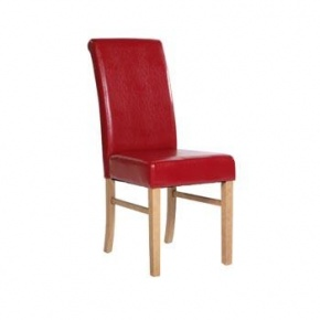 Cotswold Pine Roll Back Faux Leather Chair Red KN503  www.easyfurn.co.uk