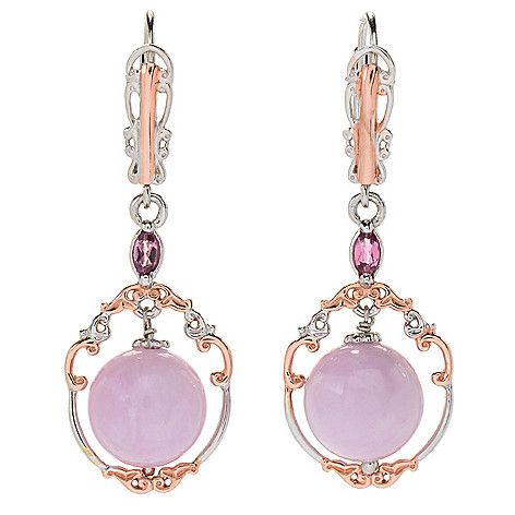 "170-824 - Gems en Vogue  1.5"" 10mm  Kunzite &  Pink Tourmaline  Drop Earrings"