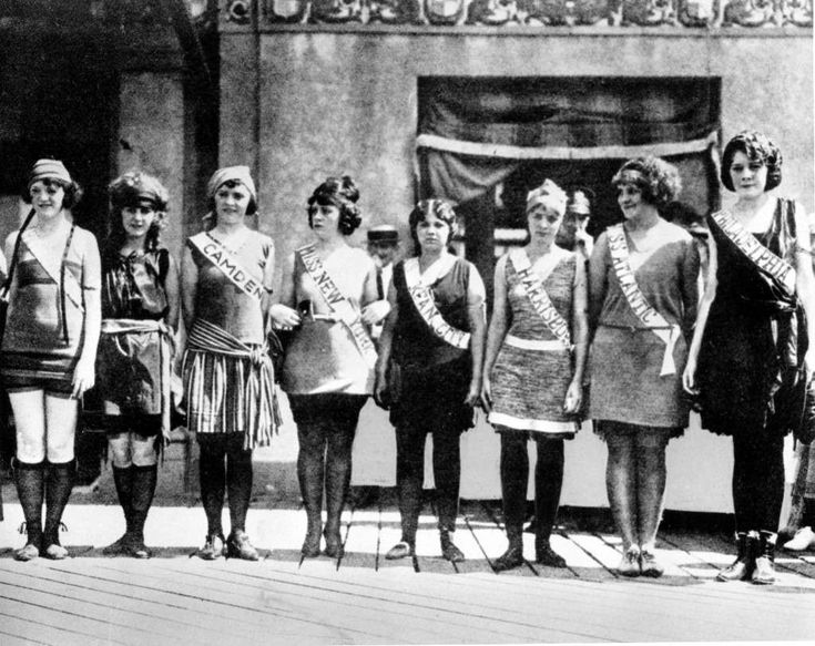 "This September 1921 file photo shows contestants in the first Miss America pageant as they line up for the judges in Atlantic City, N.J. Second from left is Margaret Gorman, who won the competition. With critics hailing ""Boardwalk Empire,"" the HBO series set in Prohibition-era Atlantic City, as perhaps the best of the fall TV season, the 12-episode series will keep Atlantic City in the nation's consciousness far longer and better than any ad could. (AP Photo/FILE) Ref #: PA.9517261  Date…"
