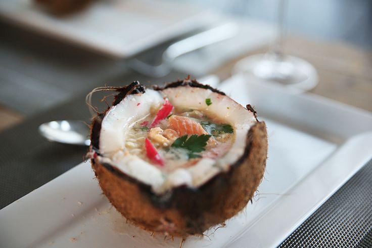 Vissoep met kokos en een citroendessert