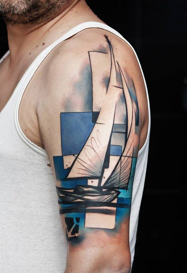 Colored boat tattoo - 100 Boat Tattoo Designs  <3 <3