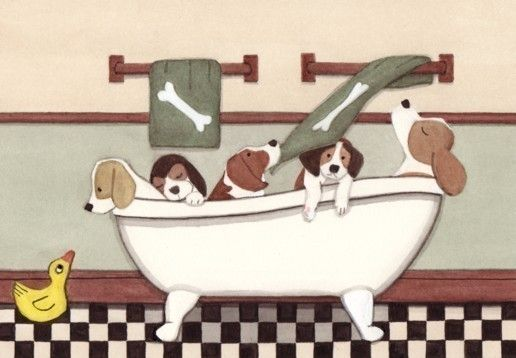 Beagles fill tub at bath time / Lynch signed by watercolorqueen, $12.99