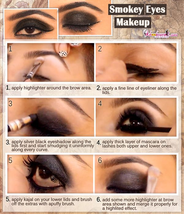 Love to do makeup.. & furious to know its technique.. Smokey Eyes Makeup Tutorial... .So watch this video link  http://www.youtube.com/watch?v=l9opjsZNt0M