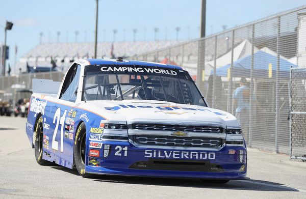 Johnny Sauter, driver of the #21 Allegiant Airlines Chevrolet, drives through the garage during practice for the NASCAR Camping World Truck Series NextEra Energy Resources 250 at Daytona International Speedway on February 15, 2018 in Daytona Beach, Florida.