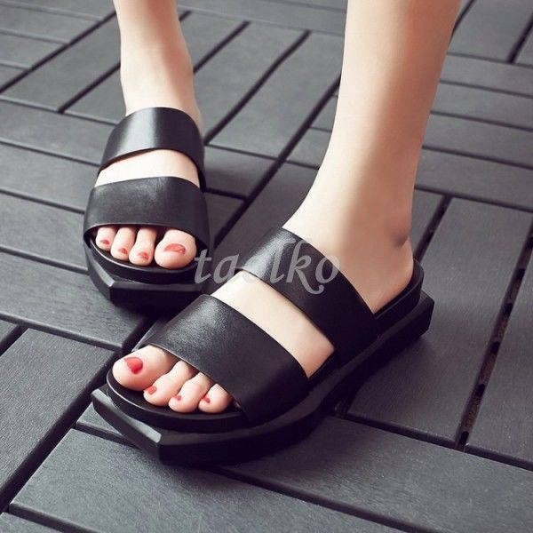 Japanese Open Toe Leather Womens Summer Slippers Casual Slip On Sandals Shoes Sz
