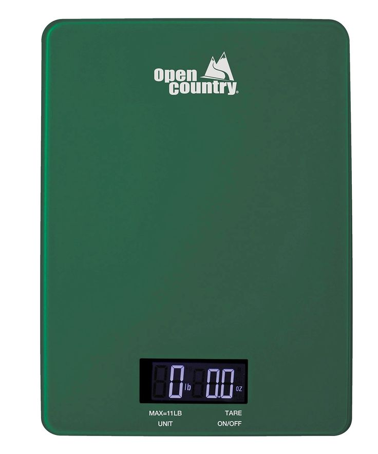 Open Country DS-11SK Digital Scale, Green. Easy to read LED display. Perfect for weighing up to 11 lbs. Convenient tare and auto shut off functions. Low battery and overload indicator. Uses 2 AAA 5V batteries, not included.
