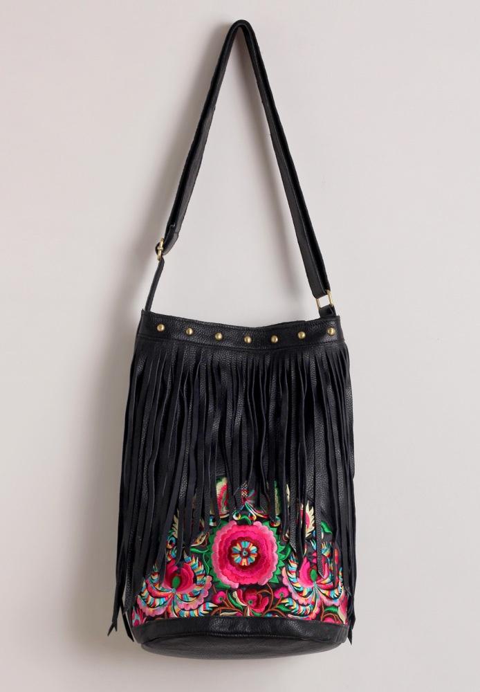 Boho Leather Fringe Bag