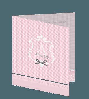 Klassieke en stijlvolle geboortekaart meisje licht roze met strikje. #baby #meisjes #geboortekaartje #geboortekaartjes