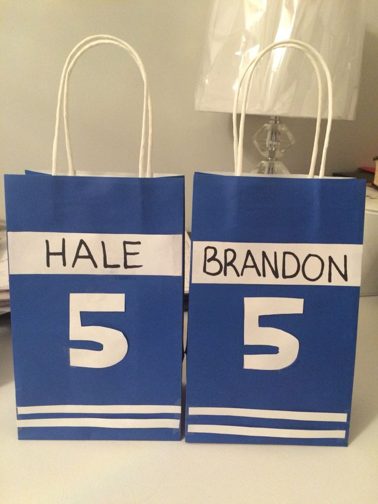Hockey themed loot bags I made for my sons birthday party.