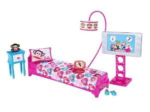 Barbie Loves Paul Frank Bedroom Playset (Julius the Monkey) by Mattel. $28.95. All accessories resembling electronics are non-functional and are for pretend play only. Includes: bed, pillow, sheet, nightstand, floor lamp with shade, alarm clock, pair of slippers, laptop, pretend 16:9 television with floor stand, and decorative backdrop. Barbie Bedroom set featuring Paul Frank's Julius and Company!. Doll not included. This Barbie Loves Paul Frank Bedroom Playse...