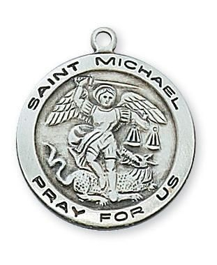 """Sterling Silver St Michael Medal (3/4"""") on 18"""" Chain (L515MK)"""