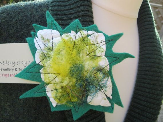 Star Felt Brooch Mixed Fibres Star Brooch Green by KBrownJewellery