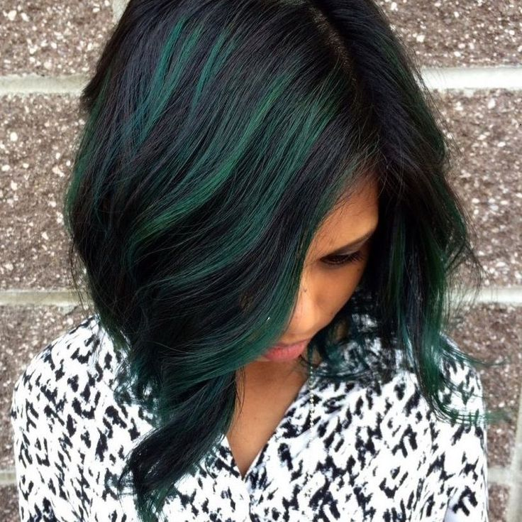 Best 25 green highlights ideas on pinterest teal highlights black and green oil slick hair color pmusecretfo Images