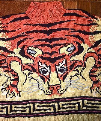 Sweater-JOSEPH-TRICOT-Tiger-Boho-Vintage-Hand-knit-Made-in-England-VINTAGE-RARE