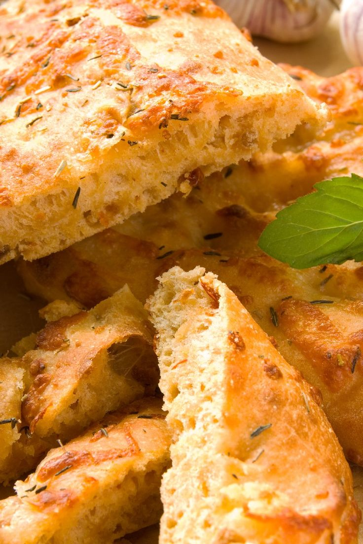 Homemade Focaccia Bread with Garlic, Herbs & Cheese #Recipe