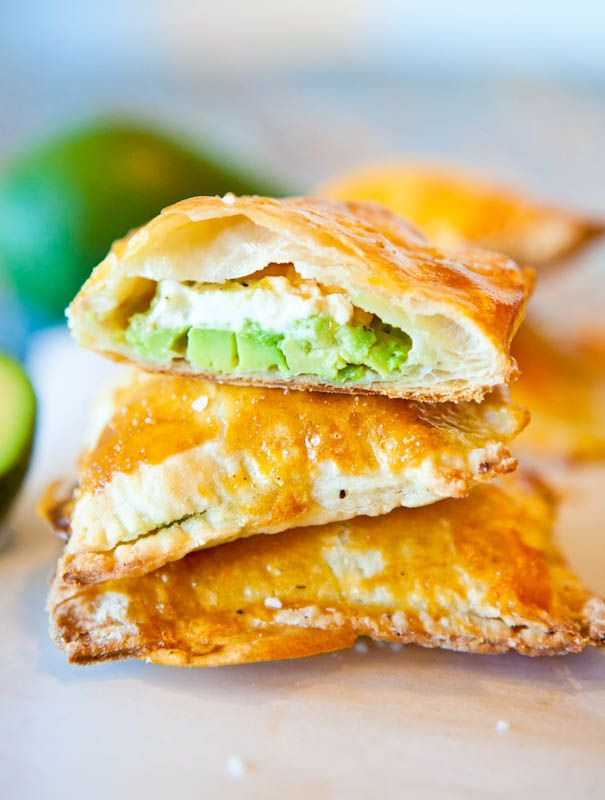 Avocado, Cream Cheese and Salsa Stuffed Puff Pastries! >> I am making these right now!
