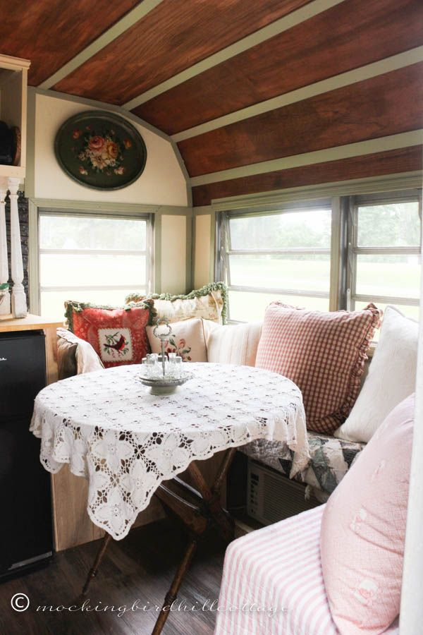 :: Love this booth and folding table in this camper! found it at @ Mockingbirdhill Cottage:: trailer 6
