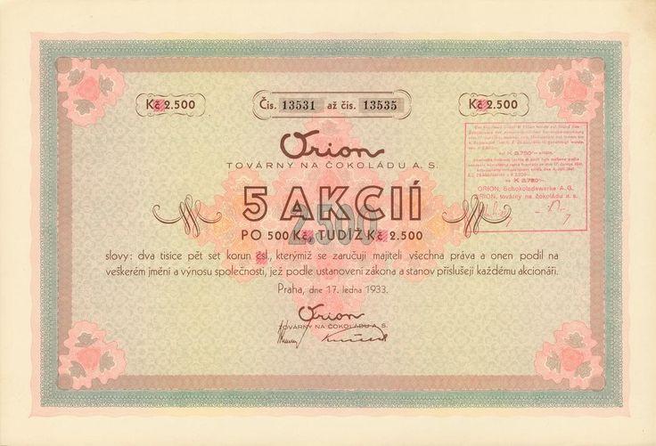 ORION, továrny na čokoládu a.s. (Orion, Schokoladewerke AG). Akcie na 5x 500 Kč (2 500 Kč). Praha, 1933.