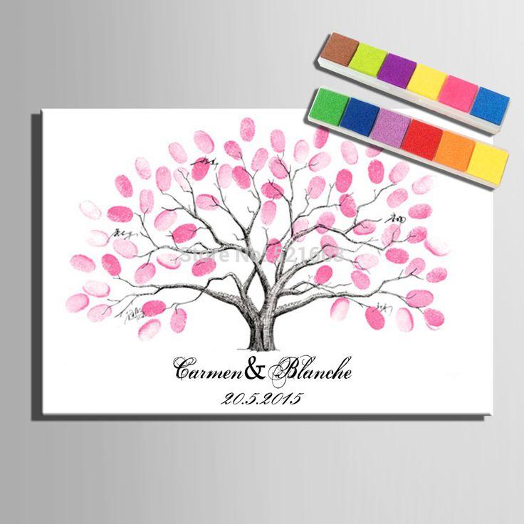 E-home cópias da lona pintura a assinatura digital de rosa árvore presente de casamento ( inclui 6Ink cores ) S3201247 alishoppbrasil