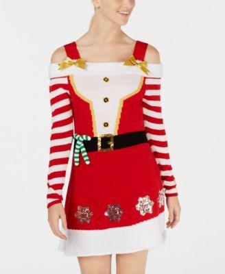 f5527d4c988 Juniors  Cold-Shoulder Sweater Dress