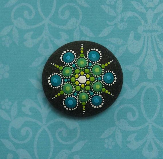 Jewel Drop Mandala Painted Stone Green and by ElspethMcLean