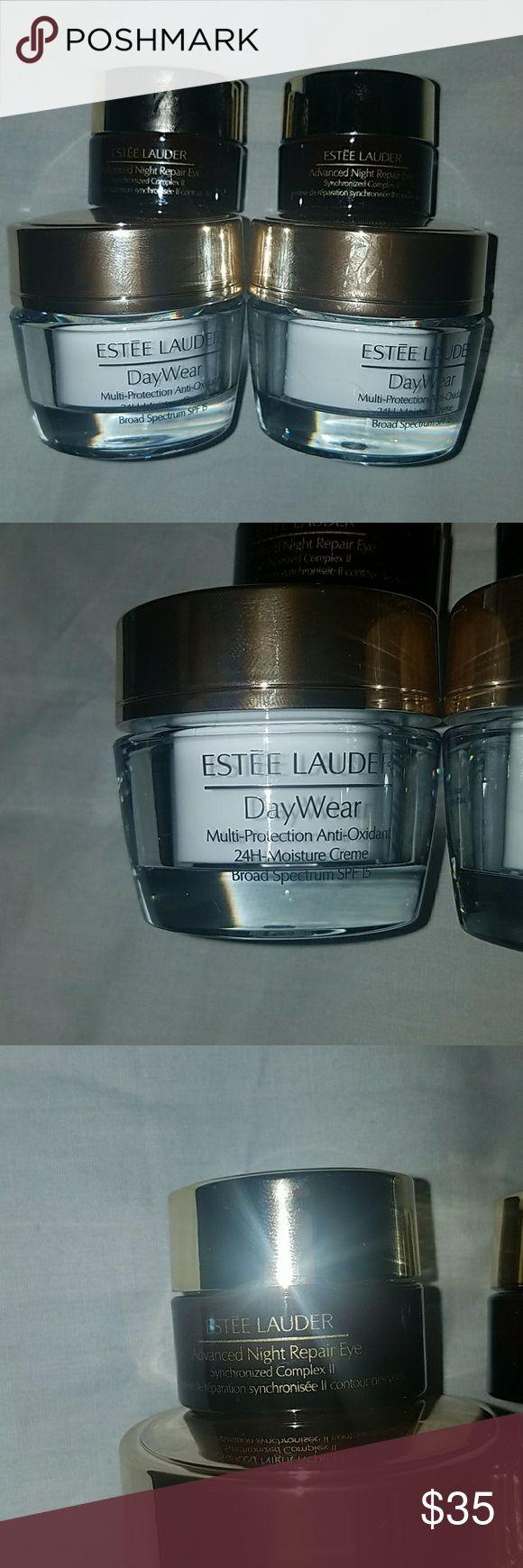 Estee Lauder face bundle New never been used  Estee Lauder face cream  2? Day wear Multi - Protection Anti - Oxidant 24h Moisture Cream spf 15 .5 oz 2 x Advanced Night Repair Eye .17 oz  No box Makeup