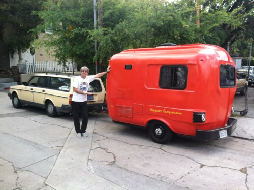 Upcycled, solar-powered 1984 U-Haul camper | ultra light weight travel trailers: can be towed by virtually ANY car, sleeps up to 4 with a convertible dining table/bed, fridge, sink, toilet, ipod dock, fits in any parking spot