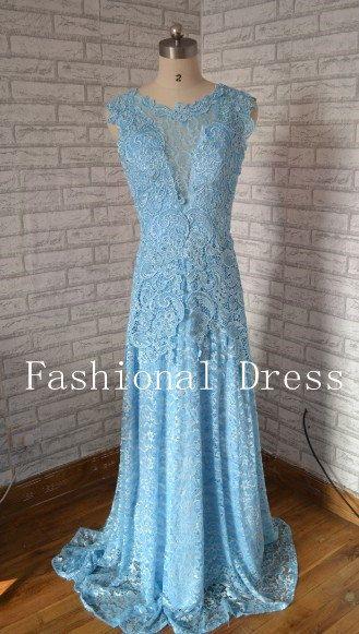 Pale blue formal lace dress