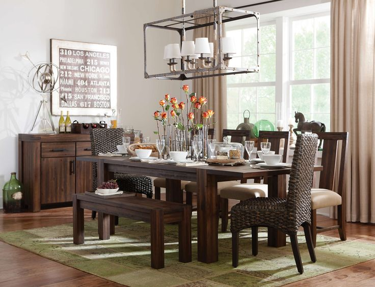 The Brick Brown Vintage Finish On This Dining Group Makes A Beautiful Rustic Urban Option Seat Up To Eight People Comfortably At Table With Both